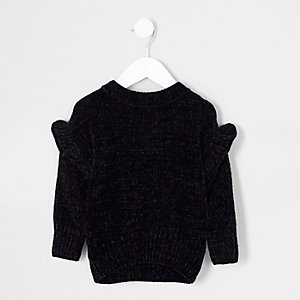 Mini - Zwarte chenille pullover met ruches voor meisjes