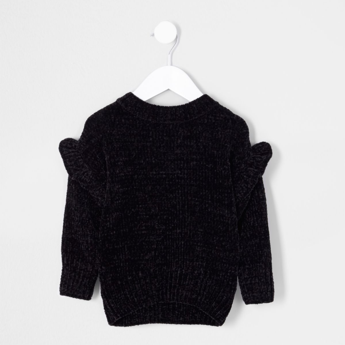 Mini girls black chenille frill sweater
