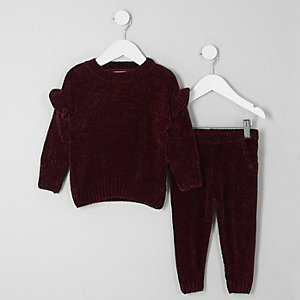 Mini - Outfit met bordeauxrode chenille pullover voor meisjes
