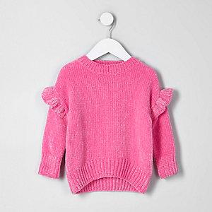 Pull en maille chenille rose vif à volant mini fille