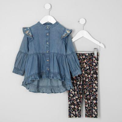 River Island Robe en jean à fleurs et volants mini fille