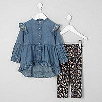 Mini girls floral denim frill dress outfit