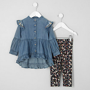 Denim mini-jurkoutfit voor meisjes met bloemenprint en ruches