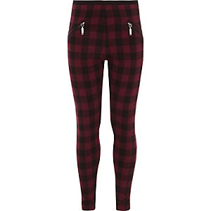 Girls red check zip front leggings