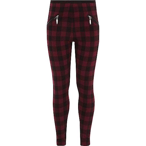 Girls red check zip front leggings