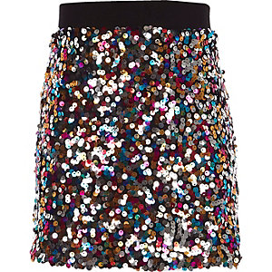 Jupe trapèze rose à sequins multicolores pour fille
