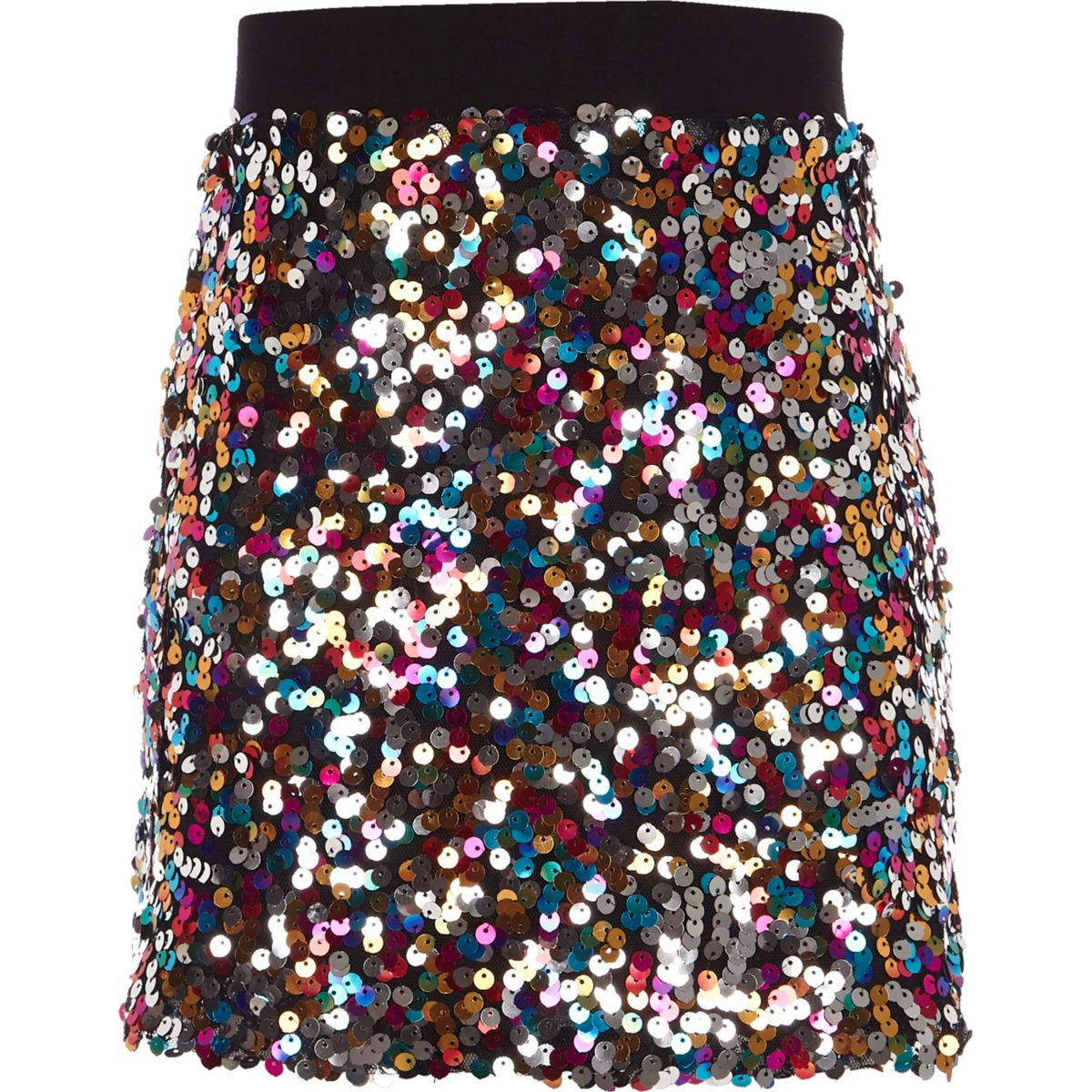 Girls pink multi-colored sequin A line skirt