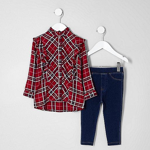 Mini girls red tartan frill shirt outfit