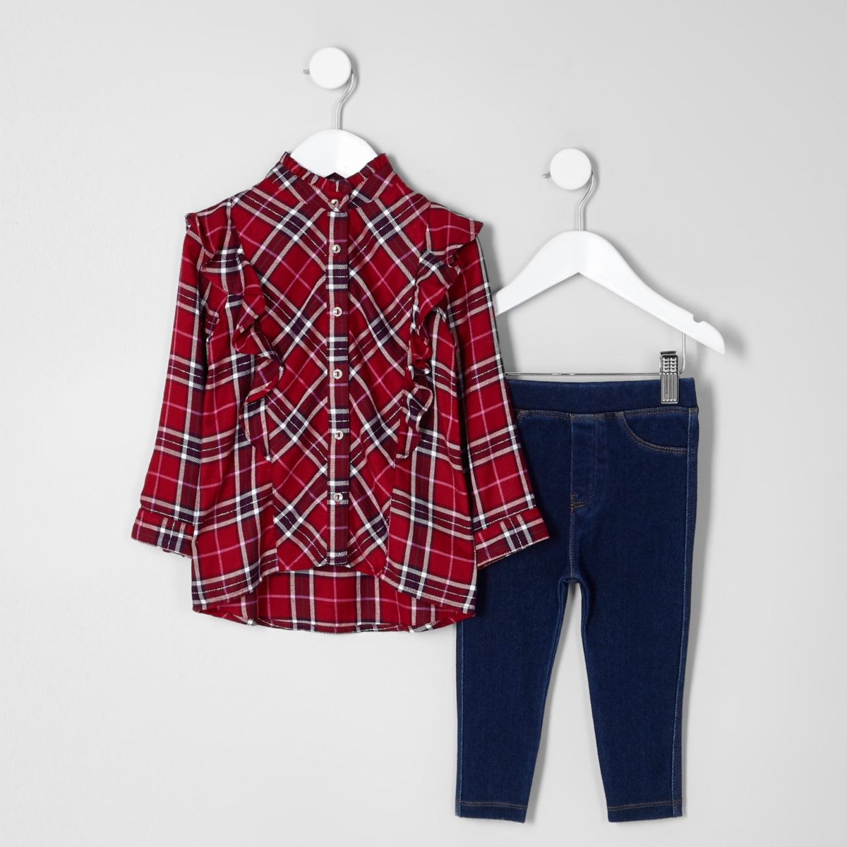 Mini girls red tartan frill shirt outfit - Mini Girls ...