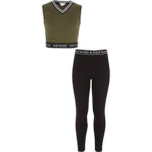 Outfit met kaki crop top en legging voor meisjes