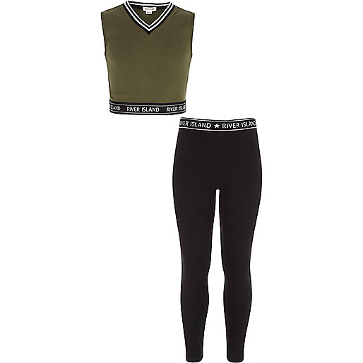 Girls khaki crop top and leggings outfit