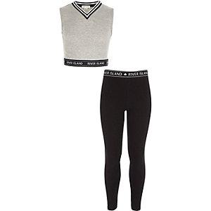 Outfit met grijze crop top en legging voor meisjes