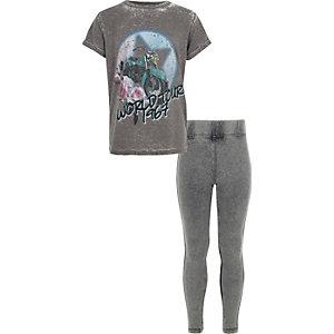 Grijs T-shirt met bandprint en legging voor meisjes