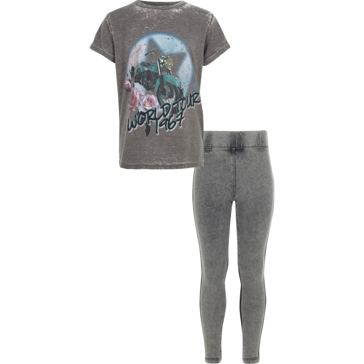 Girls grey band T-shirt and leggings outfit