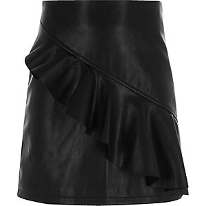 Girls black faux leather frill A line skirt