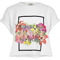 Girls white 'change the world' crop T-shirt