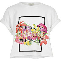 Girls white 'change the world' crop T-shirt