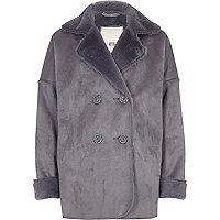 Girls blue faux shearling jacket