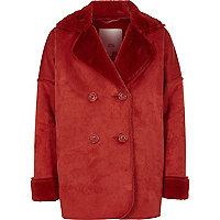 Manteau imitation mouton orange foncé pour fille