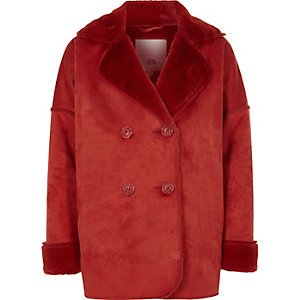 Girls dark orange faux shearling coat