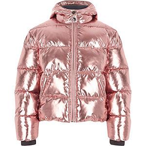 Girls pink metallic hooded puffer jacket