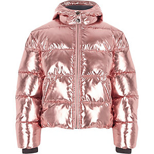 Girls pink metallic hooded puffer jacket