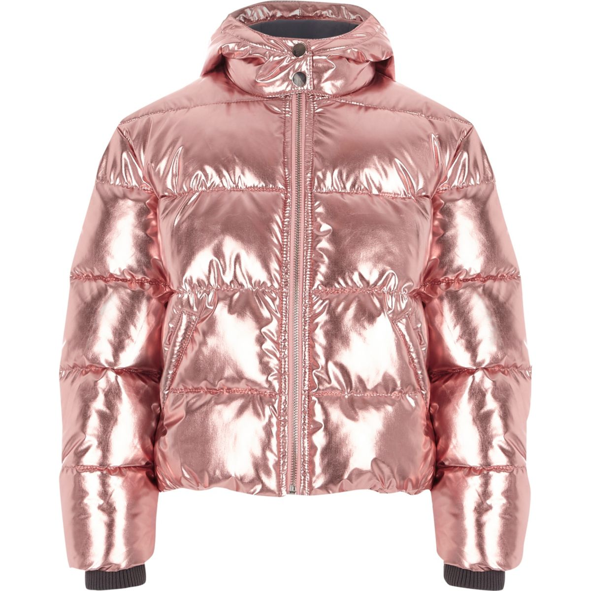 Girls pink metallic hooded puffer jacket - Jackets - Coats ...