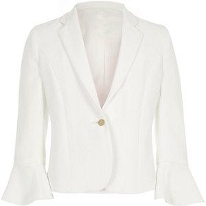 Witte blazer met wijduitlopende mouwen voor meisjes