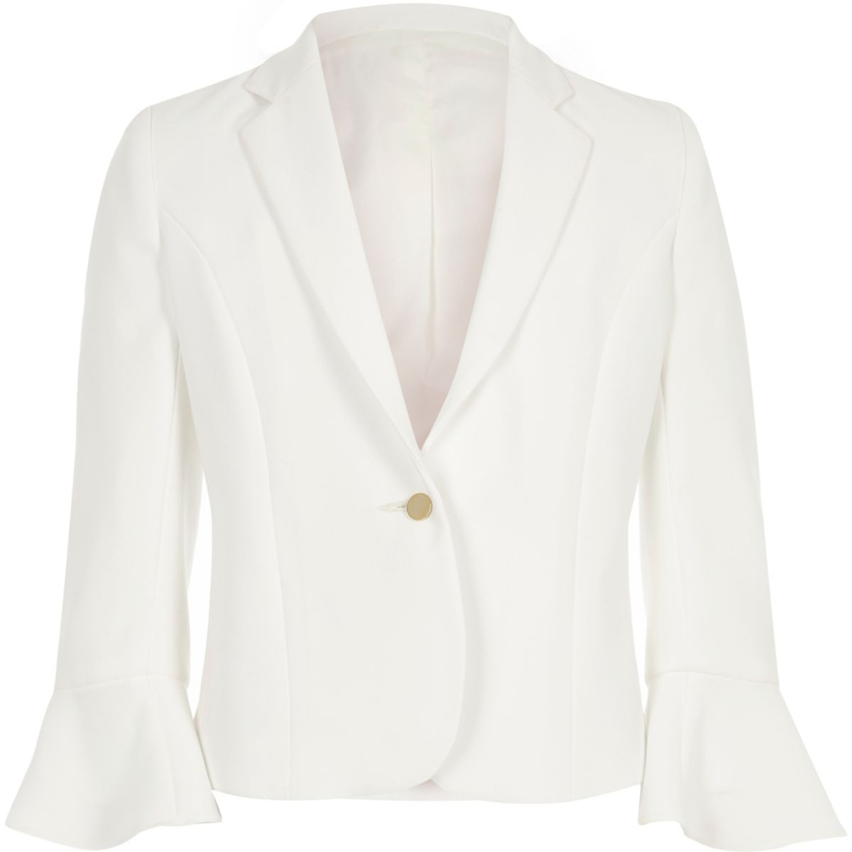 Girls white flute sleeve blazer