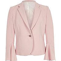 Girls light pink bell sleeve blazer