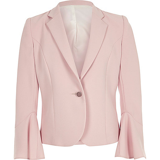 Girls light pink bell sleeve blazer