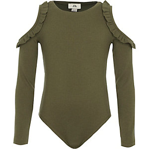 Girls khaki rib frill cold shoulder bodysuit