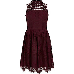 Girls burgundy lace high neck prom dress