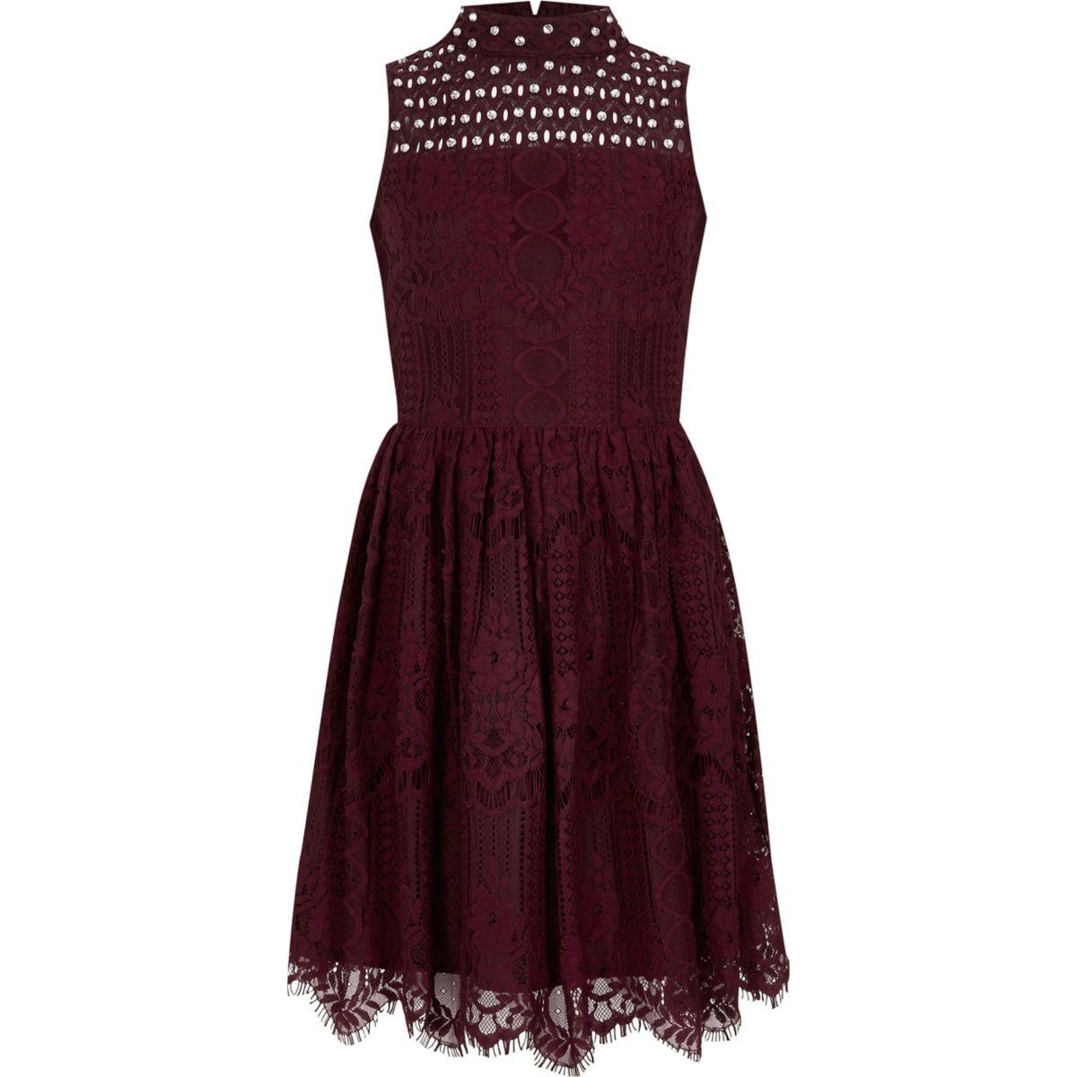 Girls burgundy lace high neck prom dress