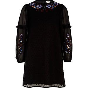 Girls black dobby mesh sequin trapeze dress