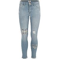 Girls blue eyelet ring Amelie skinny jeans