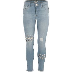 Blauwe skinny Amelie jeans met ringetjes voor meisjes