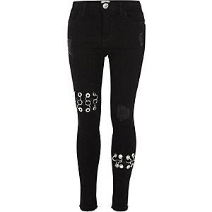 Zwarte skinny Amelie jeans met ringetjes voor meisjes