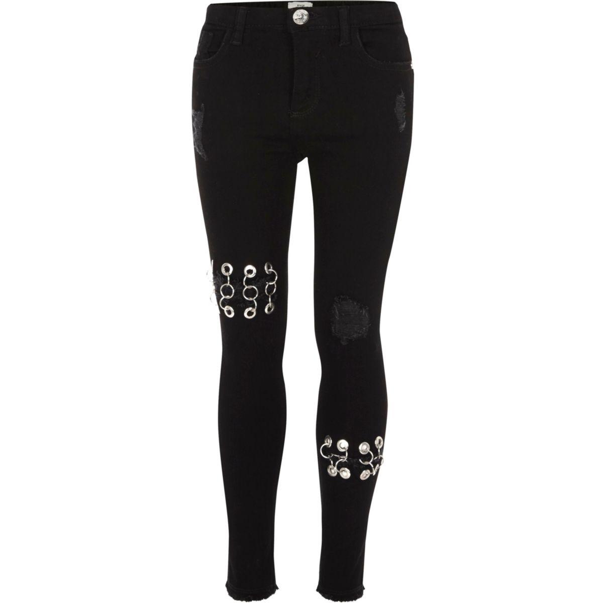 Girls black eyelet ring Amelie skinny jeans