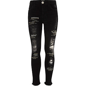 Zwarte gescheurde Amelie skinny jeans met studs voor meisjes