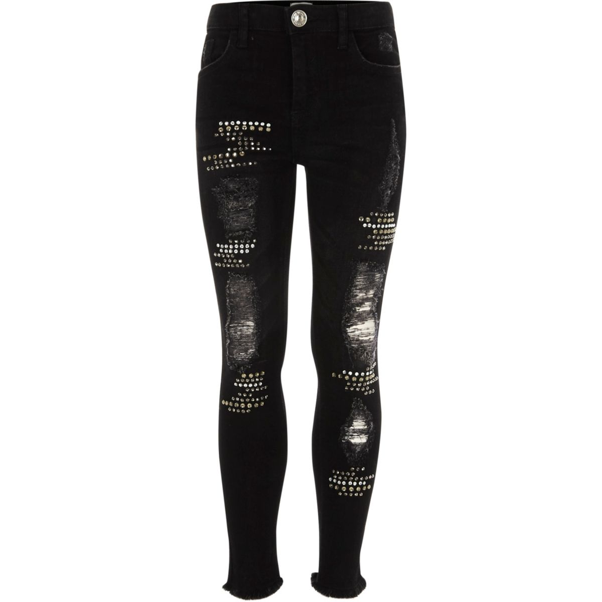 Girls black ripped stud Amelie skinny jeans