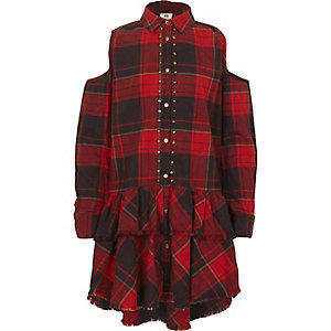 Girls red check cold shoulder shirt dress