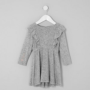 Mini girls grey frill long sleeve knit dress