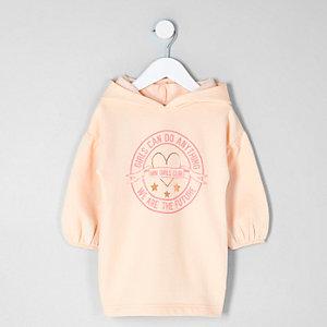 Mini girls pink 'girls can' sweatshirt dress