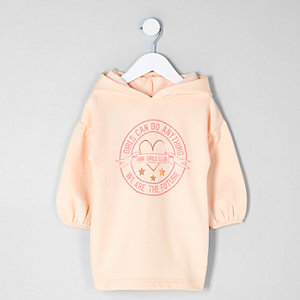 Robe sweat « girls can » rose mini fille
