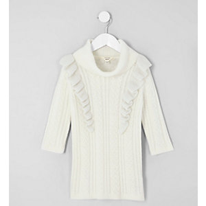 Mini girls cream cable frill jumper dress