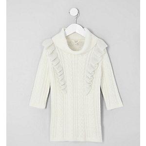 Mini - Crème kabeltrui-jurk met ruches voor meisjes
