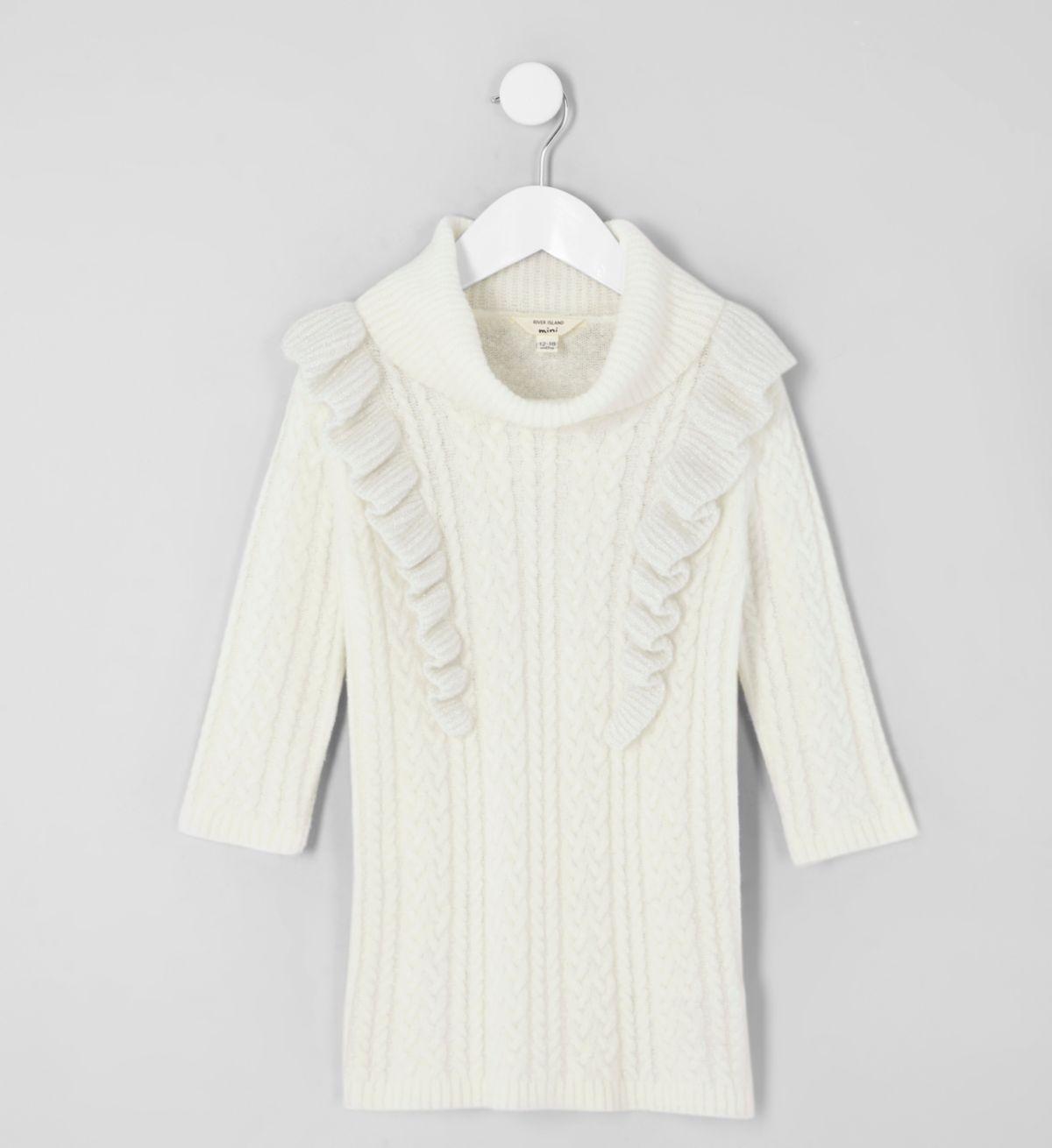 Mini girls cream cable frill jumper dress