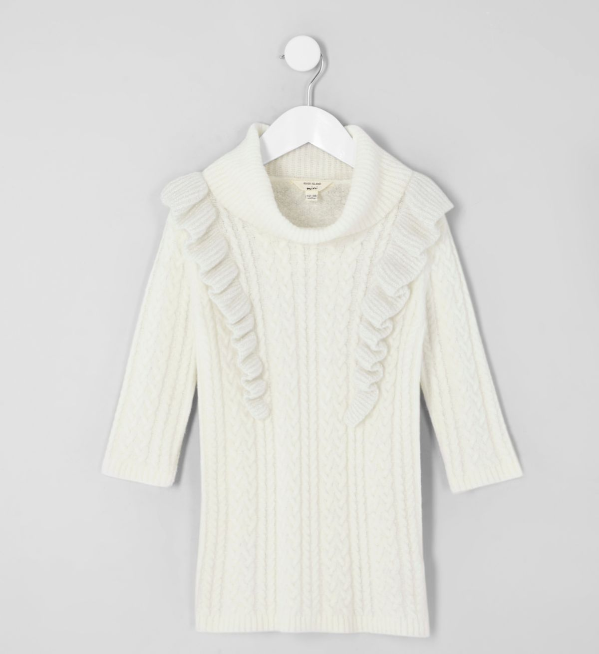Mini girls cream cable frill sweater dress