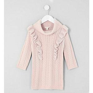 Robe pull en maille torsadée rose à volants mini fille